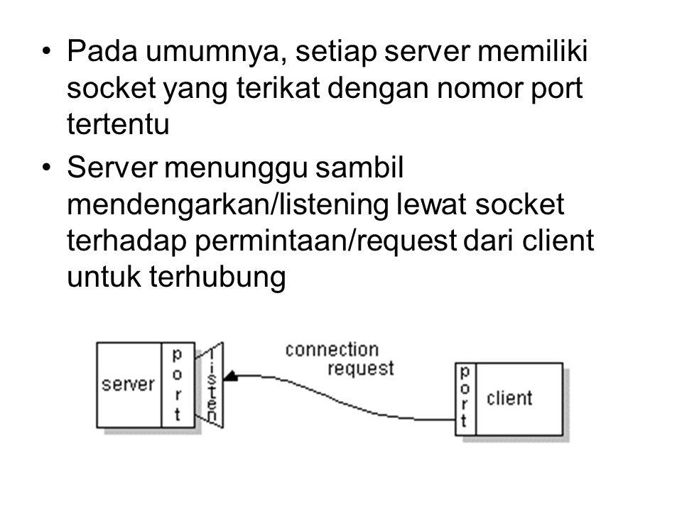 Pada umumnya, setiap server memiliki socket yang terikat dengan nomor port tertentu