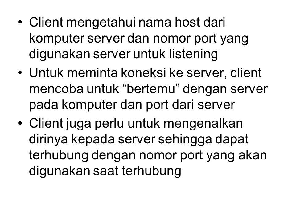 Client mengetahui nama host dari komputer server dan nomor port yang digunakan server untuk listening