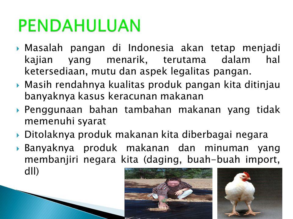 PENDAHULUAN Masalah pangan di Indonesia akan tetap menjadi kajian yang menarik, terutama dalam hal ketersediaan, mutu dan aspek legalitas pangan.