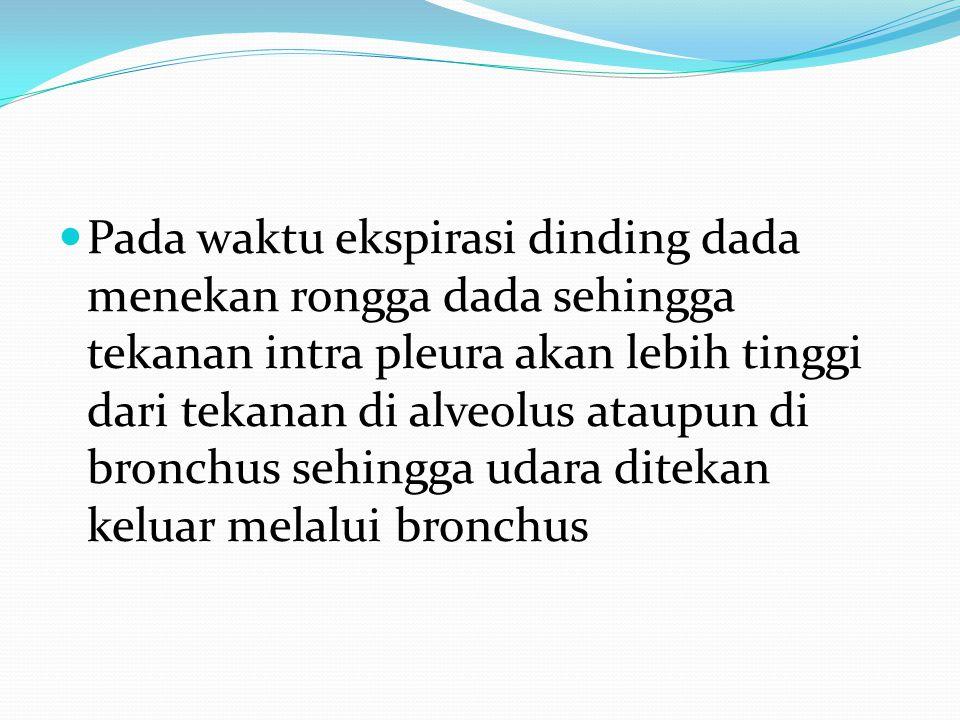 Pada waktu ekspirasi dinding dada menekan rongga dada sehingga tekanan intra pleura akan lebih tinggi dari tekanan di alveolus ataupun di bronchus sehingga udara ditekan keluar melalui bronchus