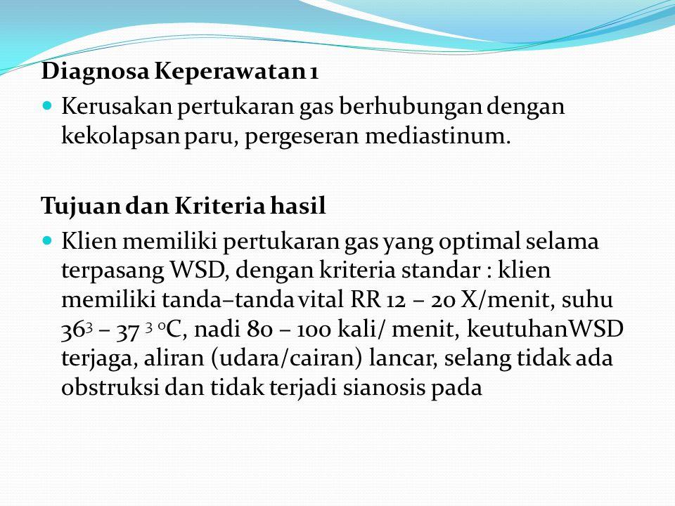 Diagnosa Keperawatan 1 Kerusakan pertukaran gas berhubungan dengan kekolapsan paru, pergeseran mediastinum.
