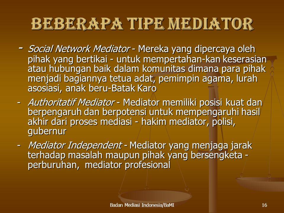 BEBERAPA TIPE MEDIATOR