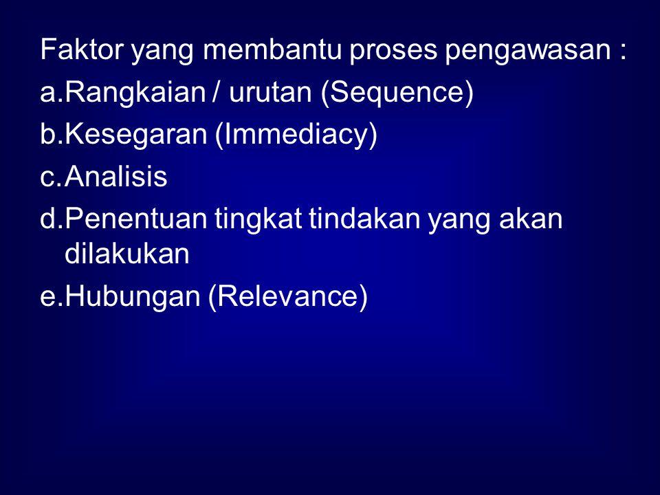 Faktor yang membantu proses pengawasan :