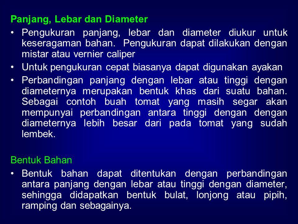 Panjang, Lebar dan Diameter