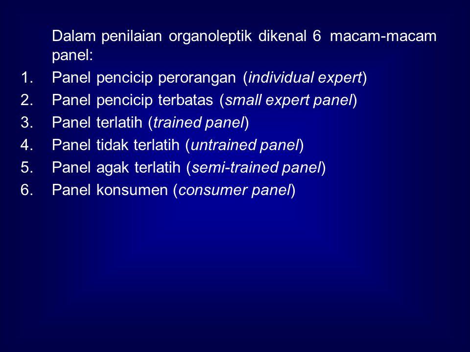 Dalam penilaian organoleptik dikenal 6 macam-macam panel: