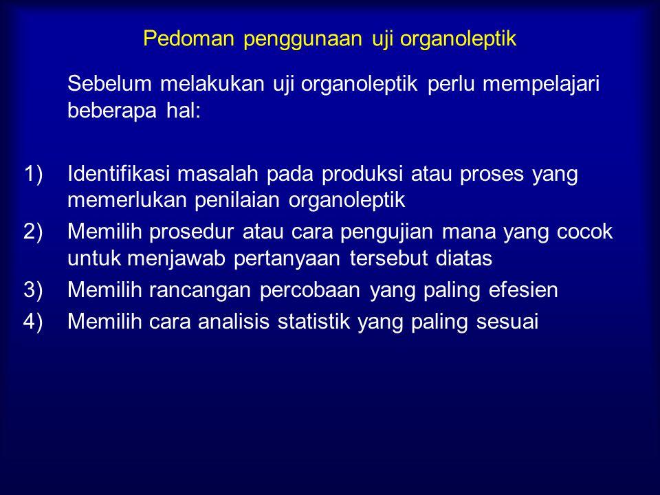 Pedoman penggunaan uji organoleptik