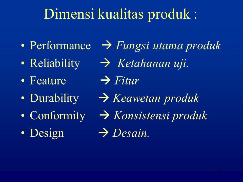 Dimensi kualitas produk :