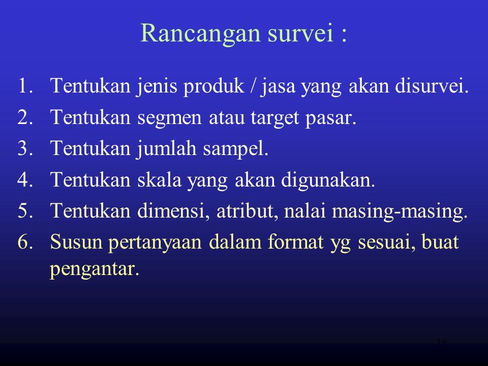 Rancangan survei : Tentukan jenis produk / jasa yang akan disurvei.