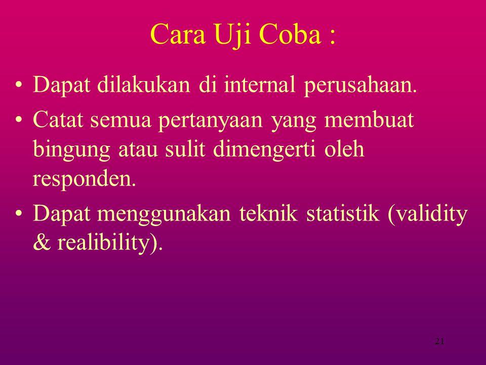 Cara Uji Coba : Dapat dilakukan di internal perusahaan.