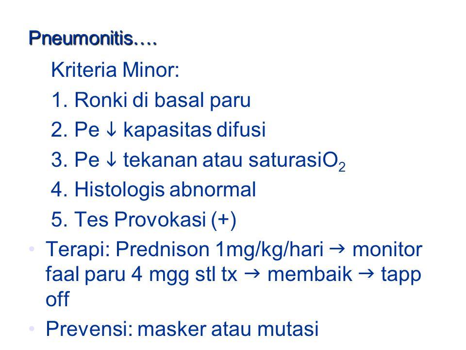 3. Pe  tekanan atau saturasiO2 4. Histologis abnormal