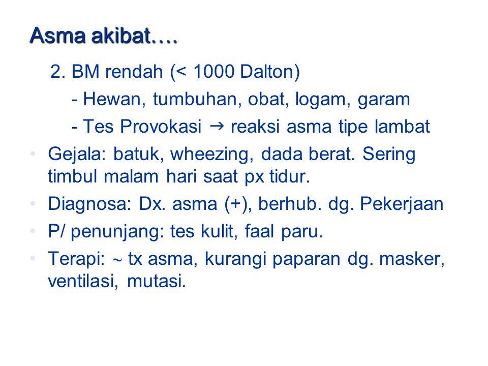 Asma akibat…. 2. BM rendah (< 1000 Dalton)