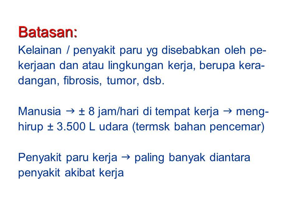 Batasan: Kelainan / penyakit paru yg disebabkan oleh pe-