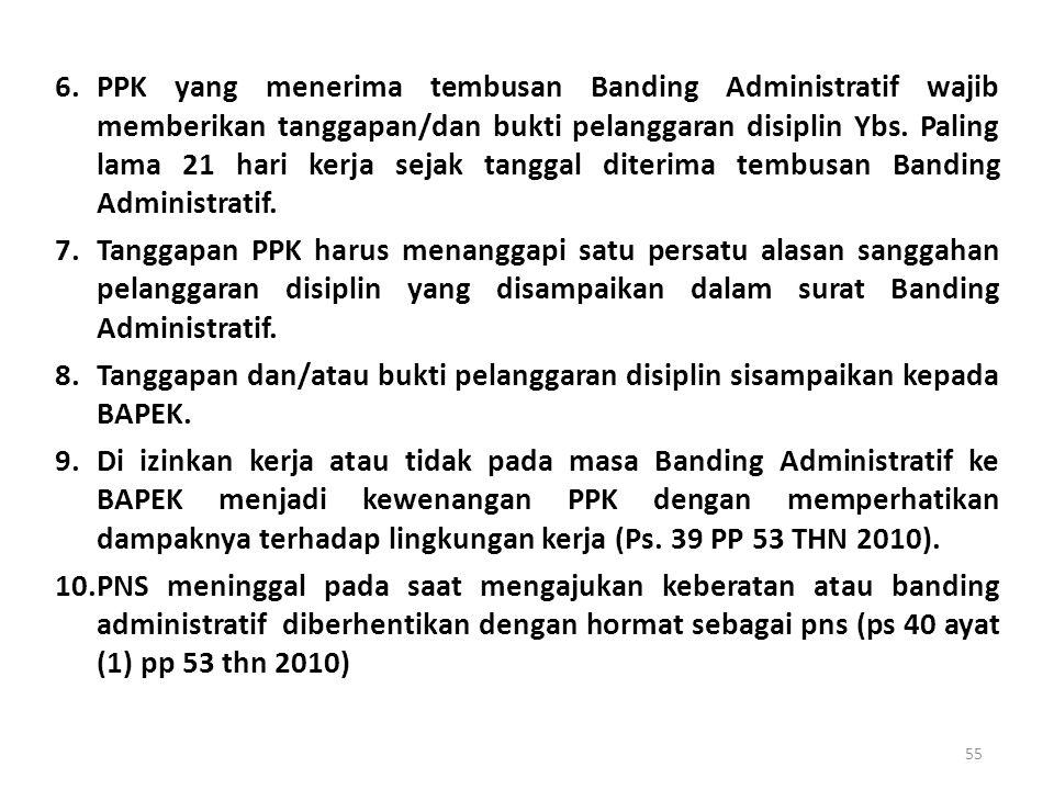 6. PPK yang menerima tembusan Banding Administratif wajib memberikan tanggapan/dan bukti pelanggaran disiplin Ybs. Paling lama 21 hari kerja sejak tanggal diterima tembusan Banding Administratif.