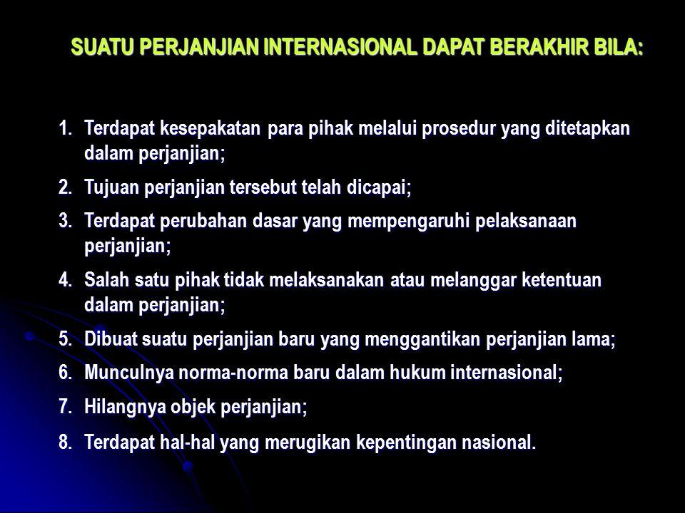 SUATU PERJANJIAN INTERNASIONAL DAPAT BERAKHIR BILA: