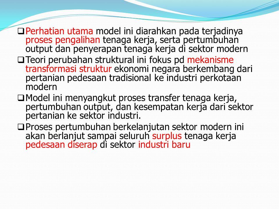 Perhatian utama model ini diarahkan pada terjadinya proses pengalihan tenaga kerja, serta pertumbuhan output dan penyerapan tenaga kerja di sektor modern