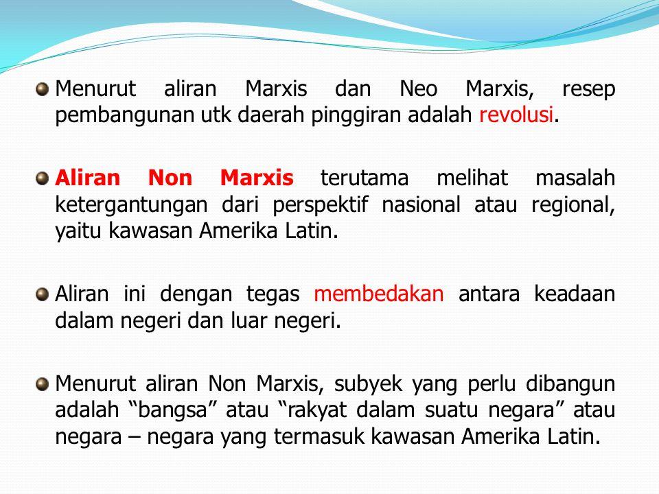 Menurut aliran Marxis dan Neo Marxis, resep pembangunan utk daerah pinggiran adalah revolusi.
