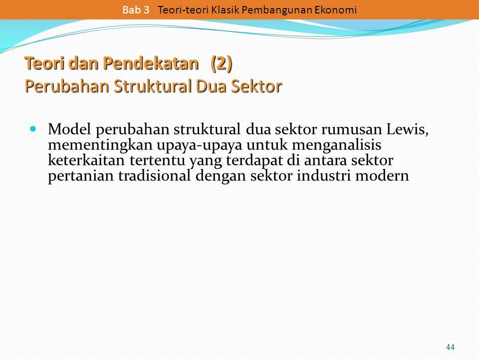 Teori dan Pendekatan (2) Perubahan Struktural Dua Sektor