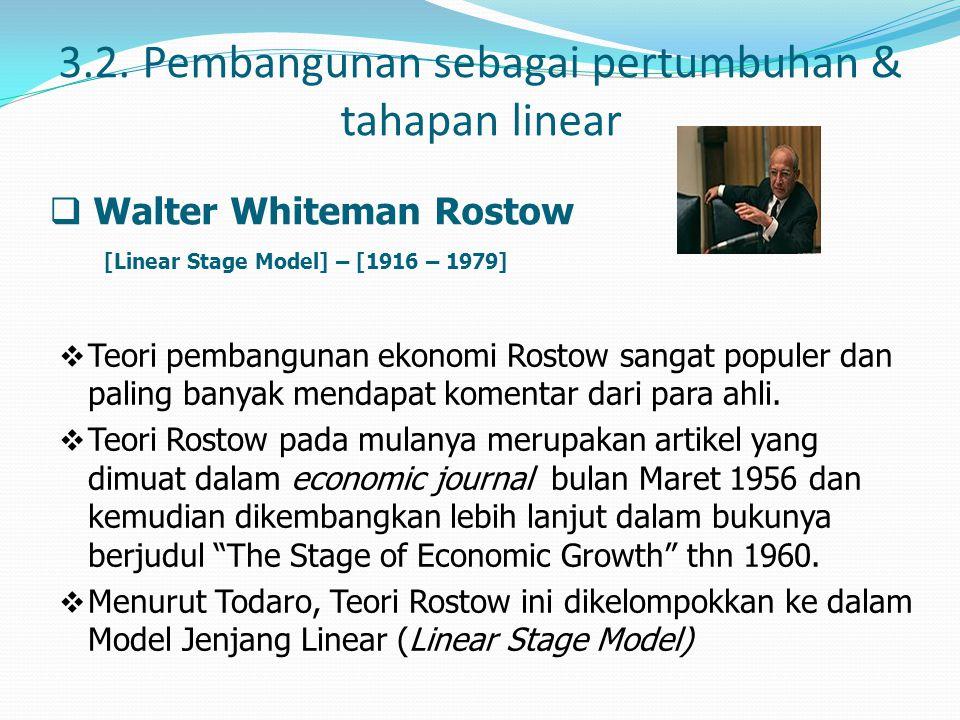3.2. Pembangunan sebagai pertumbuhan & tahapan linear