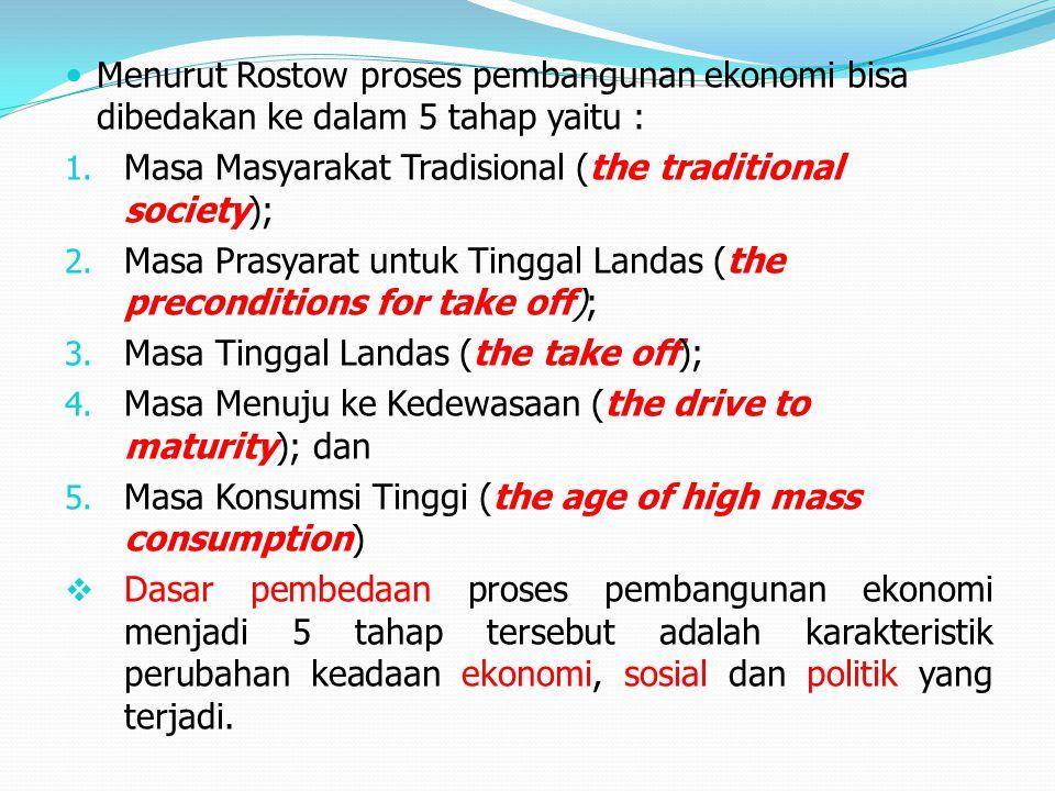 Menurut Rostow proses pembangunan ekonomi bisa dibedakan ke dalam 5 tahap yaitu :