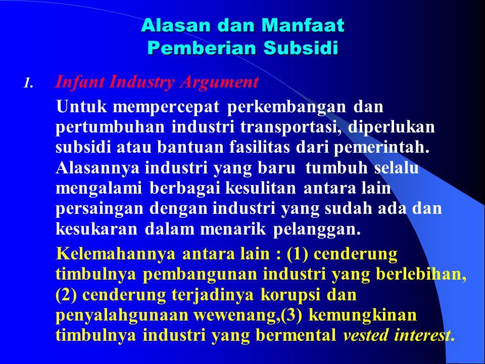 Alasan dan Manfaat Pemberian Subsidi