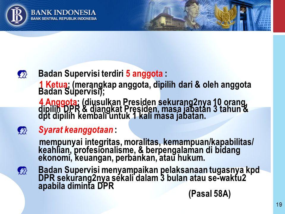 Badan Supervisi terdiri 5 anggota :