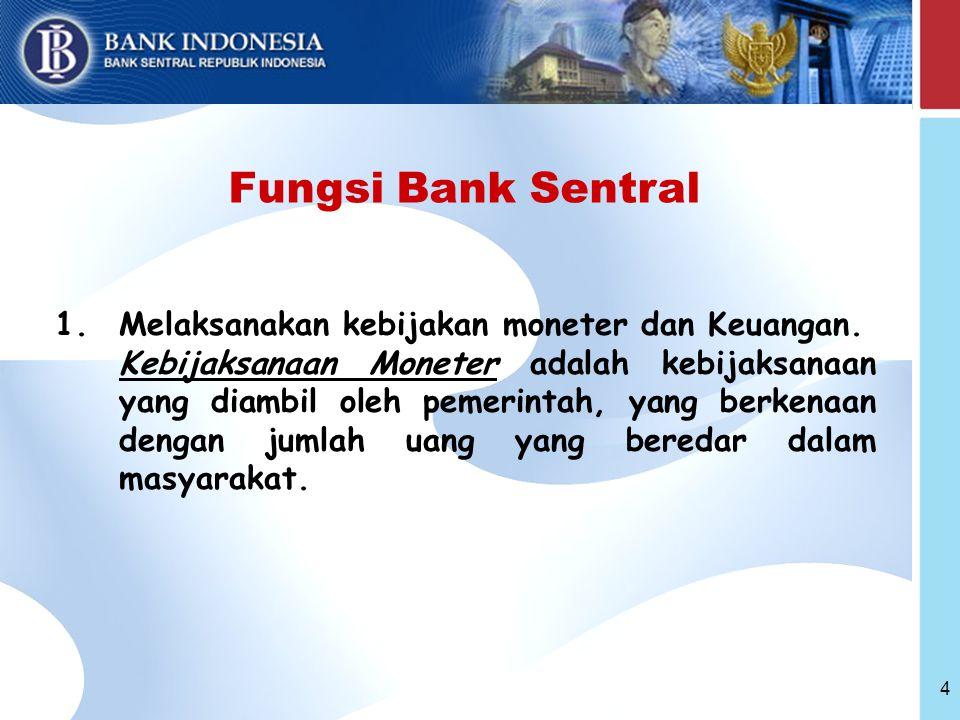 Fungsi Bank Sentral Melaksanakan kebijakan moneter dan Keuangan.