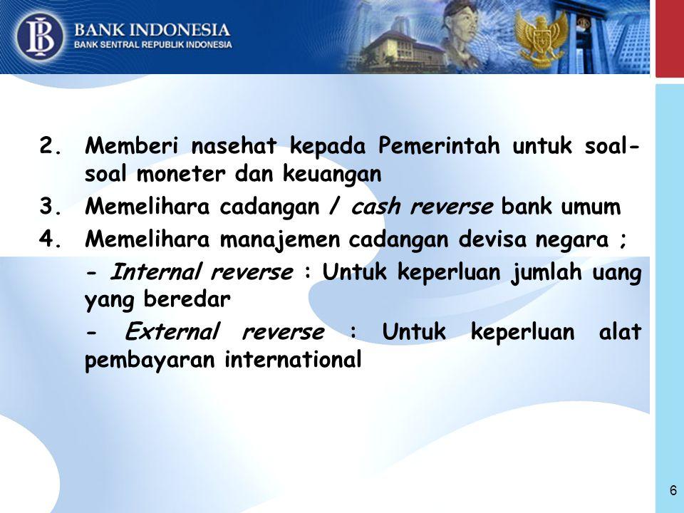 Memberi nasehat kepada Pemerintah untuk soal-soal moneter dan keuangan