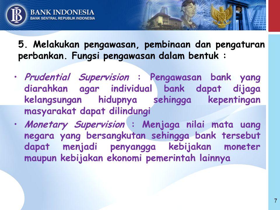 5. Melakukan pengawasan, pembinaan dan pengaturan perbankan