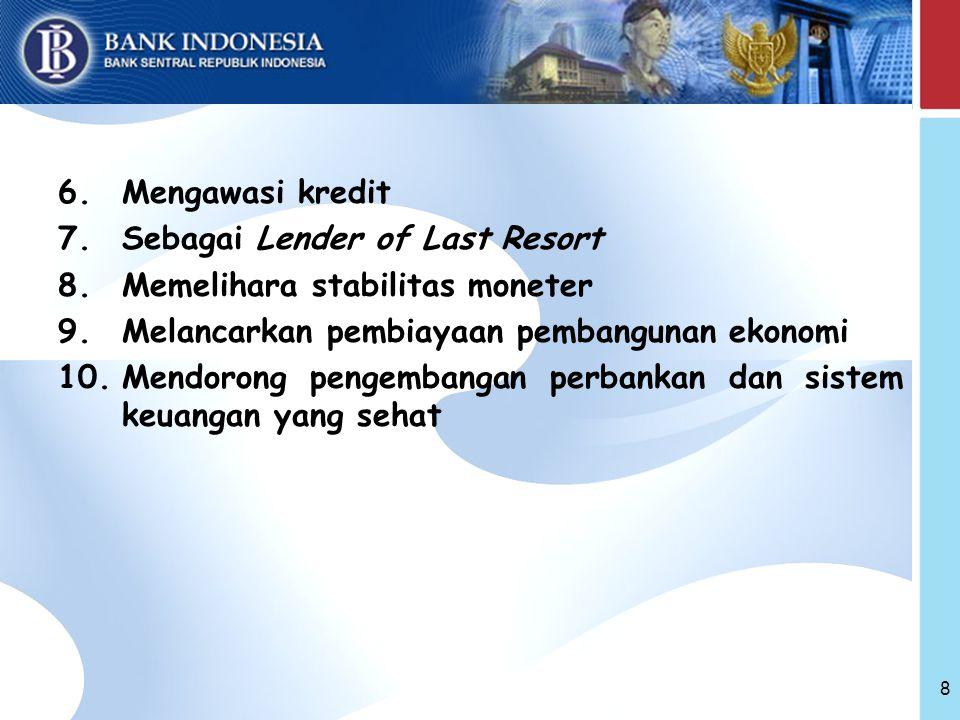 Mengawasi kredit Sebagai Lender of Last Resort. Memelihara stabilitas moneter. Melancarkan pembiayaan pembangunan ekonomi.