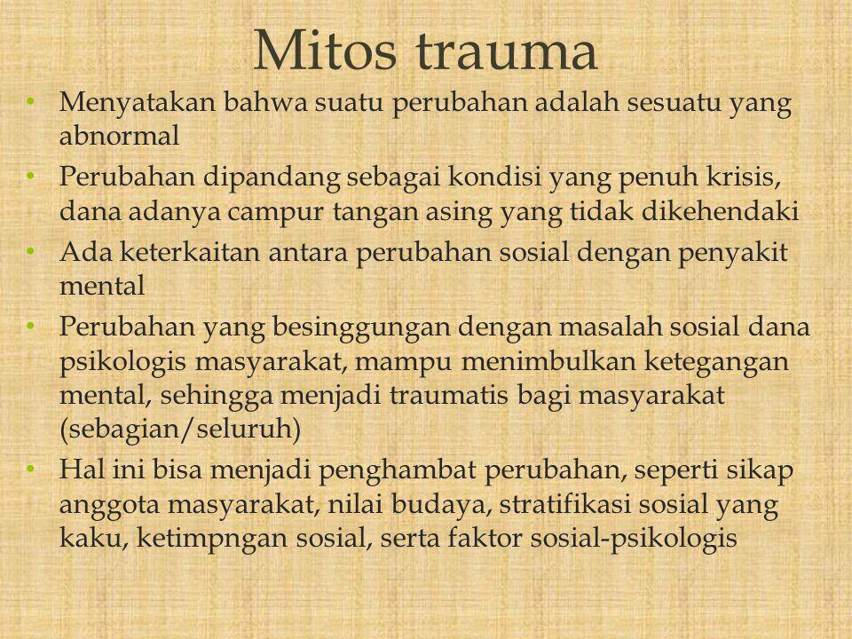 Mitos trauma Menyatakan bahwa suatu perubahan adalah sesuatu yang abnormal.