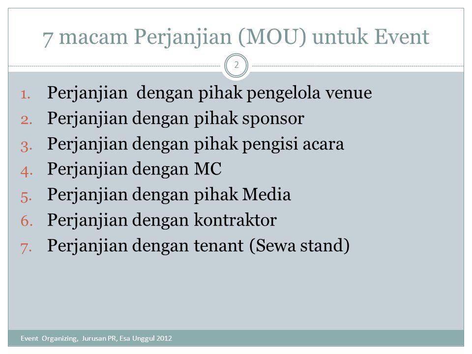 7 macam Perjanjian (MOU) untuk Event