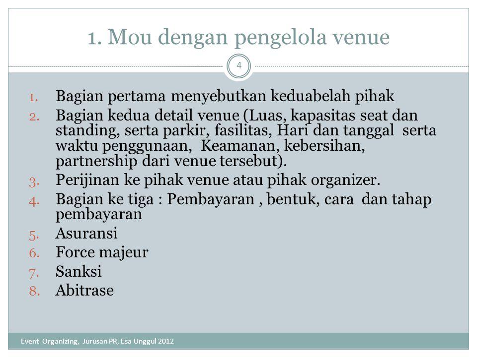 1. Mou dengan pengelola venue