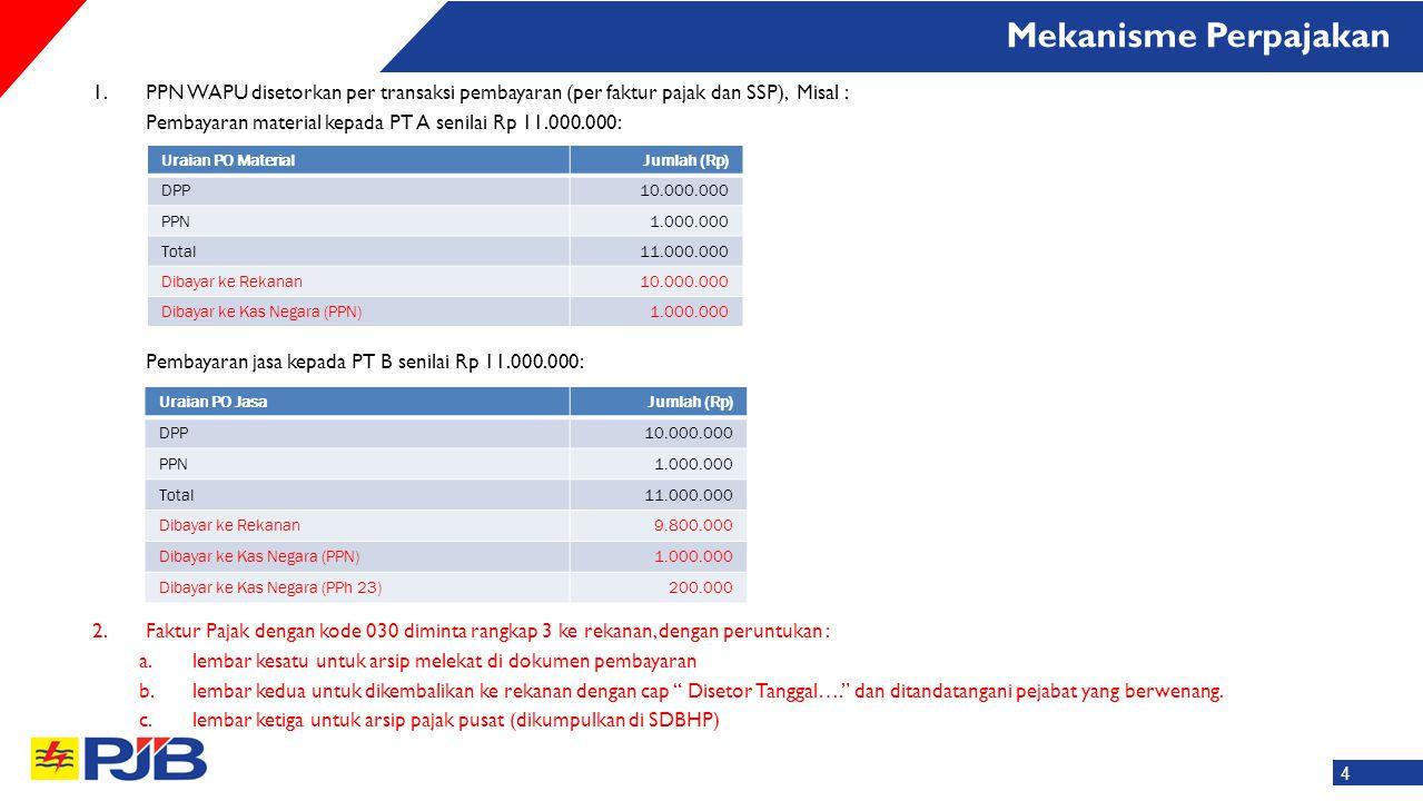 Mekanisme Perpajakan PPN WAPU disetorkan per transaksi pembayaran (per faktur pajak dan SSP), Misal :