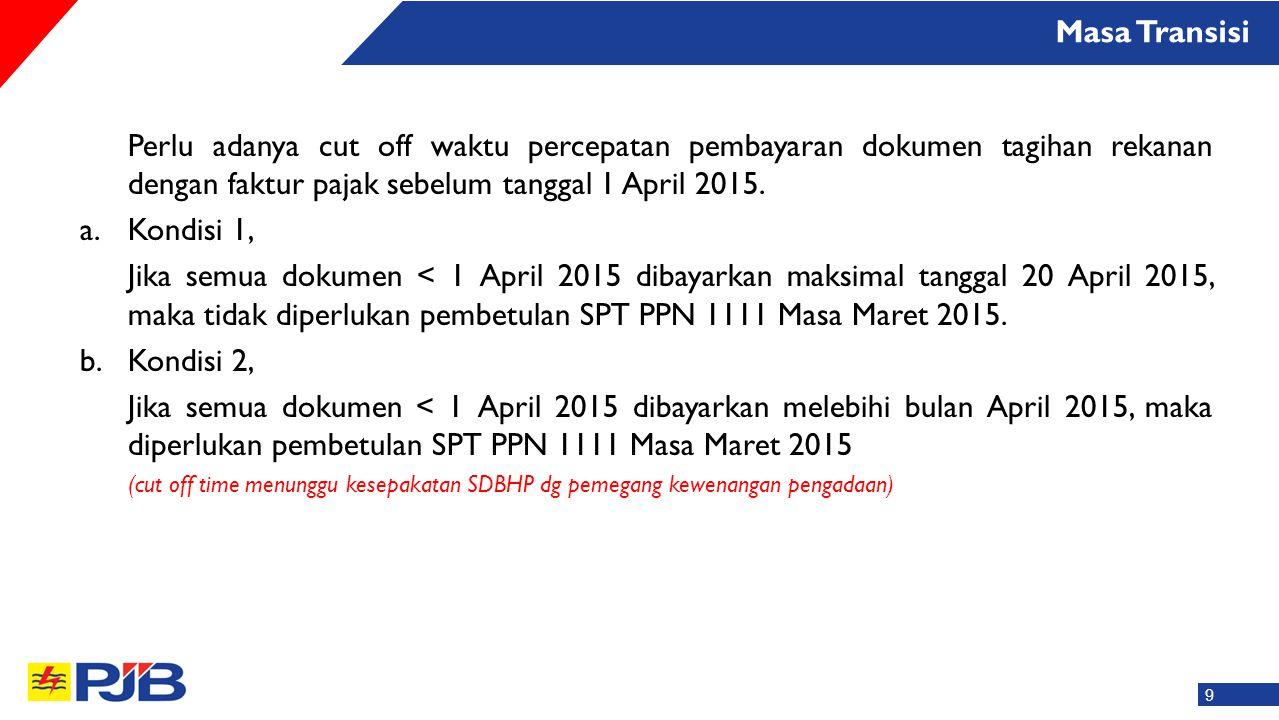 Masa Transisi Perlu adanya cut off waktu percepatan pembayaran dokumen tagihan rekanan dengan faktur pajak sebelum tanggal 1 April 2015.