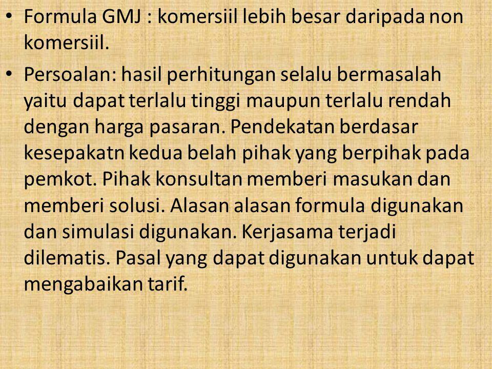 Formula GMJ : komersiil lebih besar daripada non komersiil.