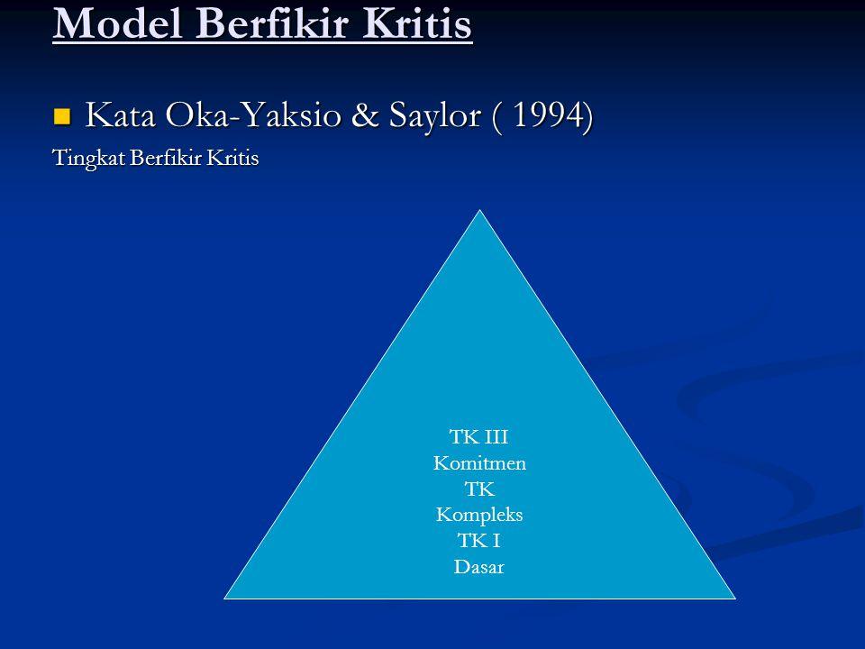 Model Berfikir Kritis Kata Oka-Yaksio & Saylor ( 1994)