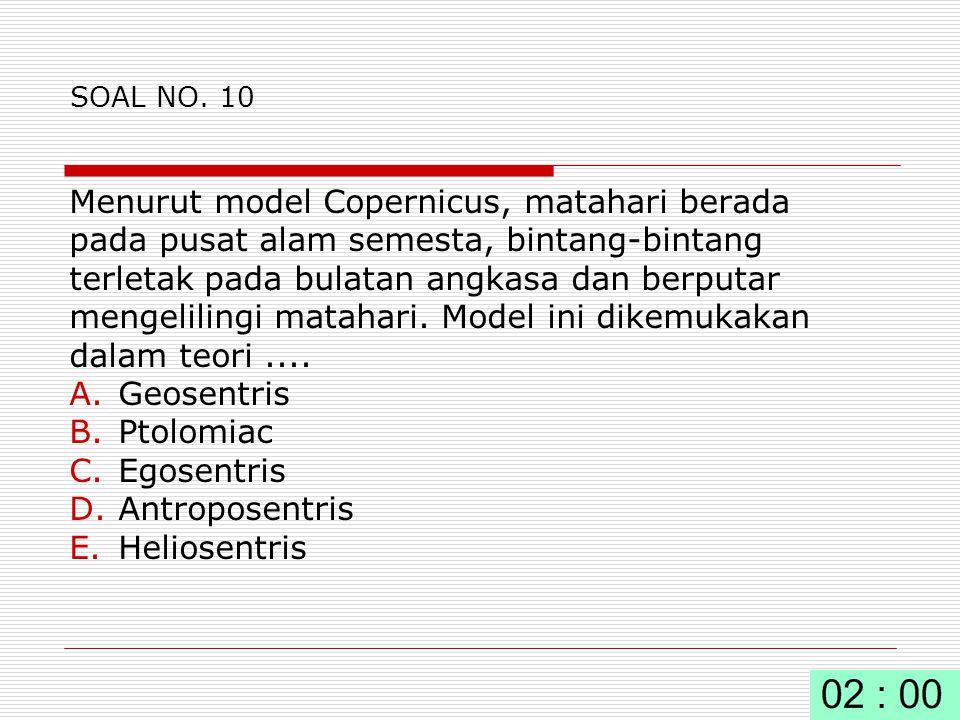 Menurut model Copernicus, matahari berada