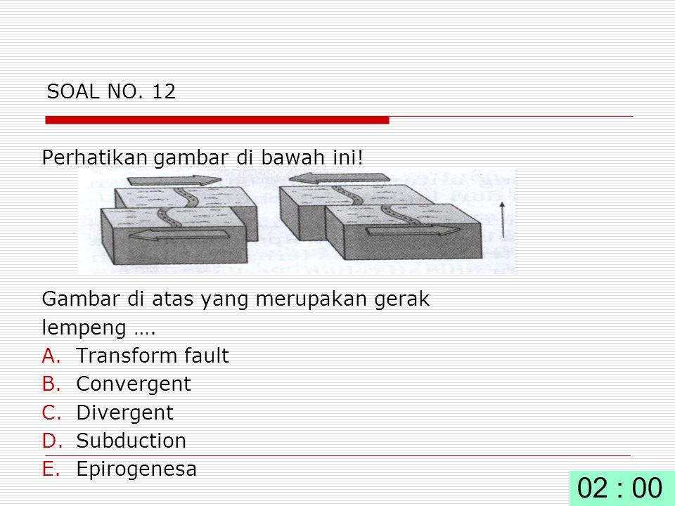 SOAL NO. 12 Perhatikan gambar di bawah ini! Gambar di atas yang merupakan gerak. lempeng …. Transform fault.