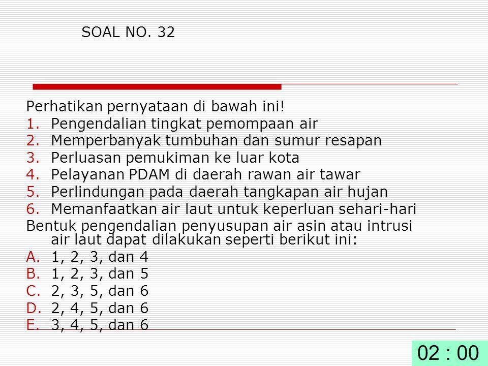 SOAL NO. 32 Perhatikan pernyataan di bawah ini! Pengendalian tingkat pemompaan air. Memperbanyak tumbuhan dan sumur resapan.