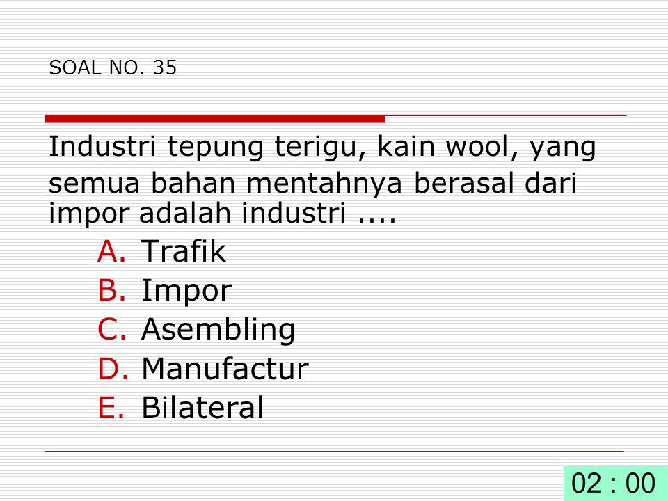 Trafik Impor Asembling Manufactur Bilateral
