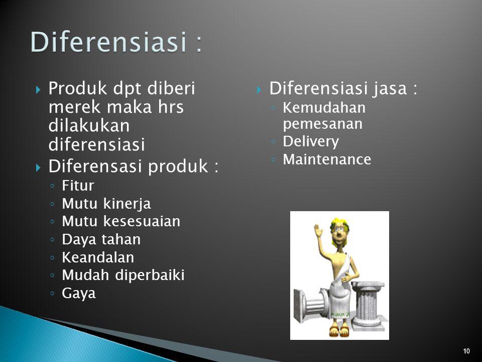 Diferensiasi : Produk dpt diberi merek maka hrs dilakukan diferensiasi