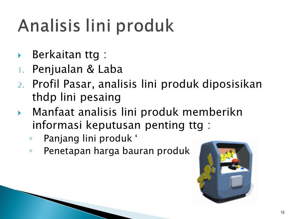 Analisis lini produk Berkaitan ttg : Penjualan & Laba