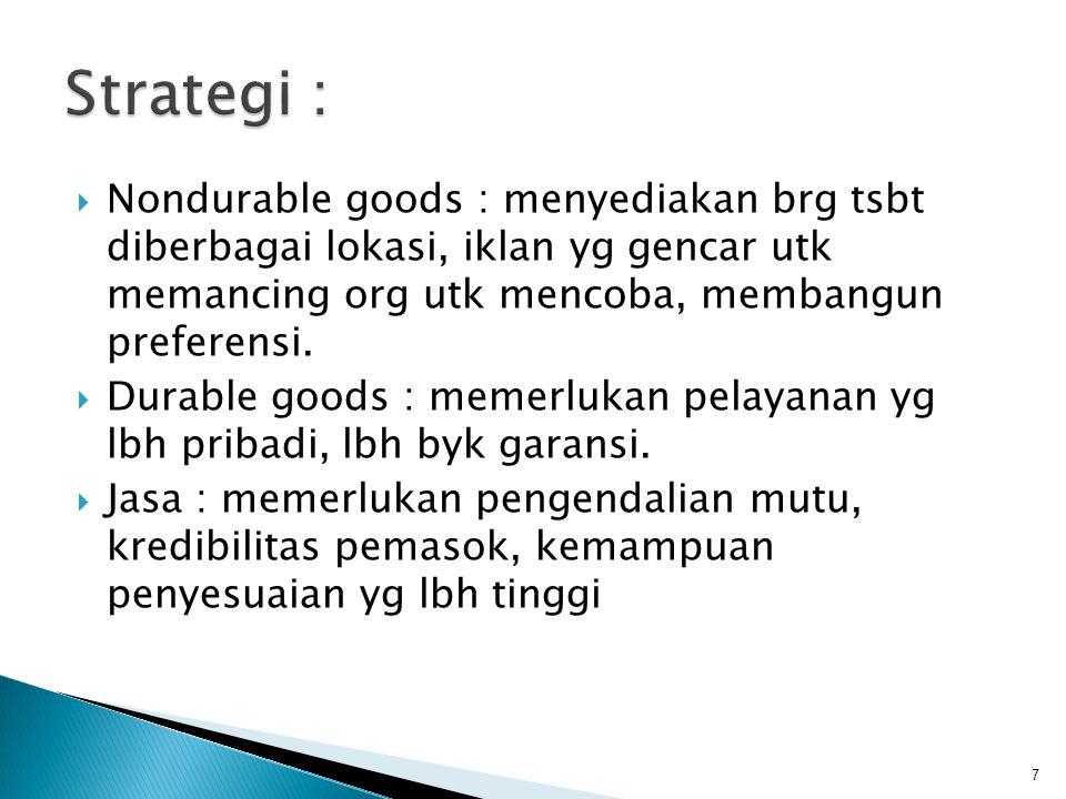 Strategi : Nondurable goods : menyediakan brg tsbt diberbagai lokasi, iklan yg gencar utk memancing org utk mencoba, membangun preferensi.