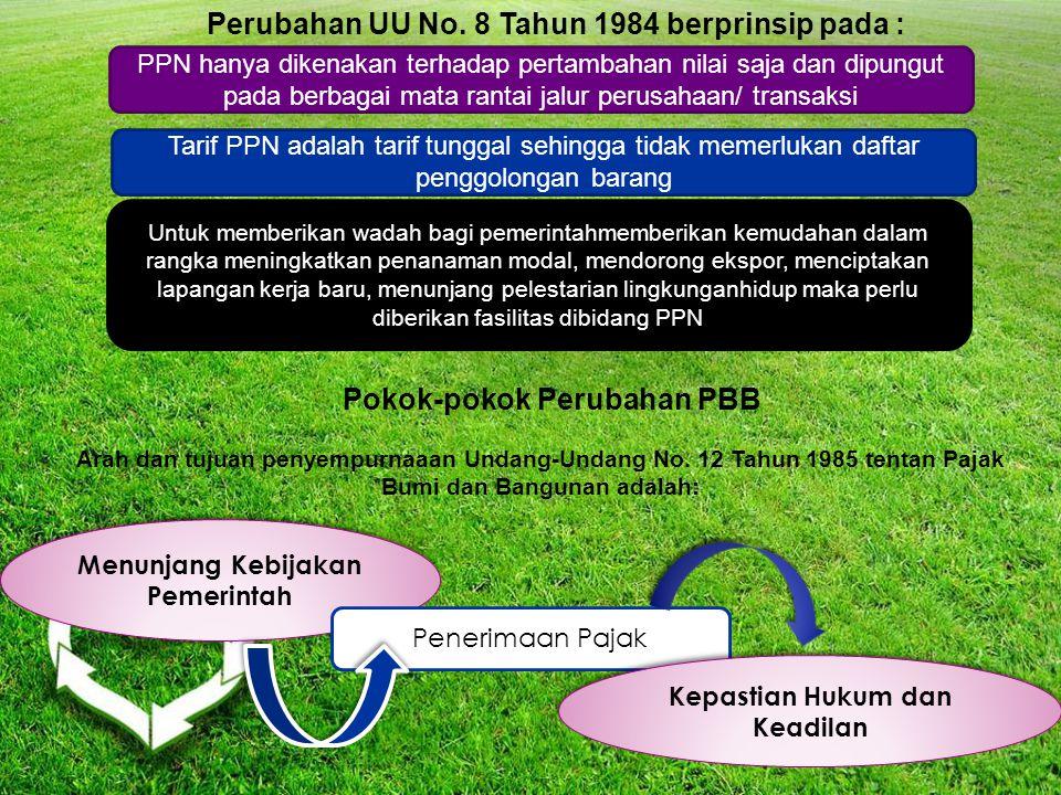 Perubahan UU No. 8 Tahun 1984 berprinsip pada :