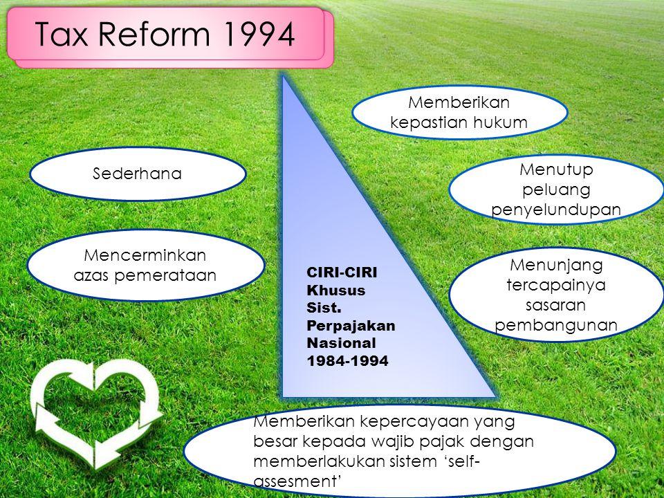 Tax Reform 1994 Memberikan kepastian hukum Sederhana