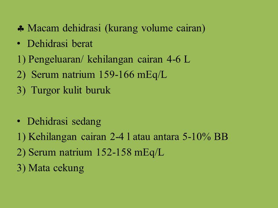  Macam dehidrasi (kurang volume cairan)