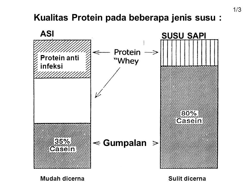 Kualitas Protein pada beberapa jenis susu :