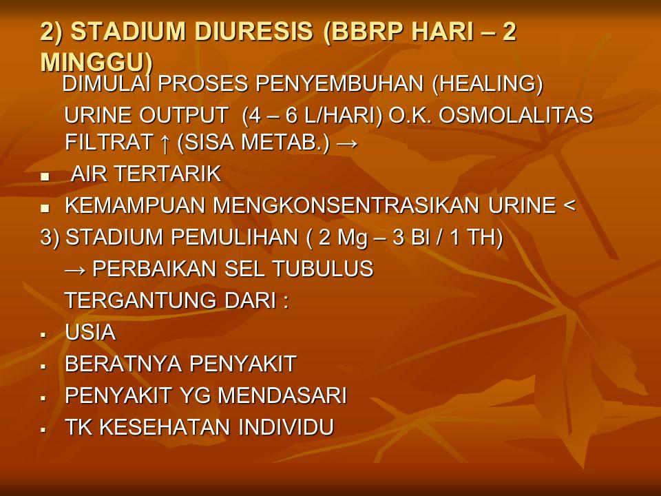 2) STADIUM DIURESIS (BBRP HARI – 2 MINGGU)