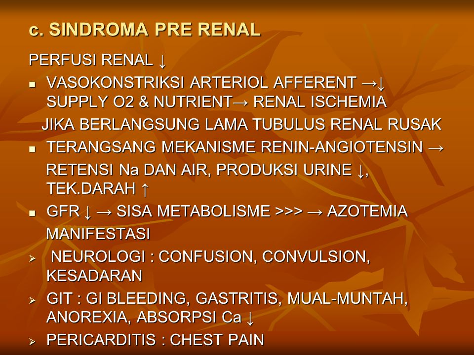 c. SINDROMA PRE RENAL PERFUSI RENAL ↓