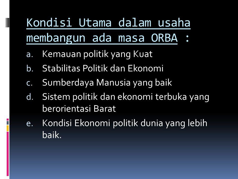 Kondisi Utama dalam usaha membangun ada masa ORBA :